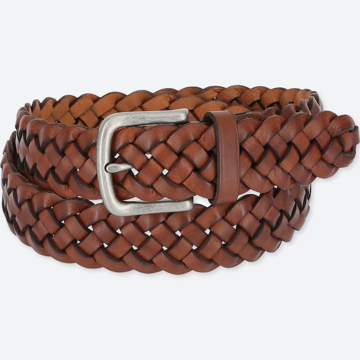 MEN LEATHER WIDE MESH BELT, BROWN, large