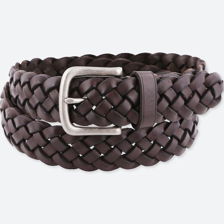 Men Leather Wide Mesh Belt, Dark Brown, Large