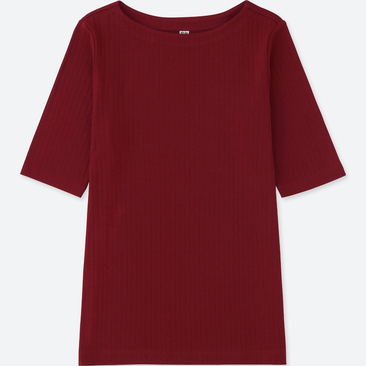 Women Ribbed Boat Neck Half-Sleeve T-Shirt, Red, Large
