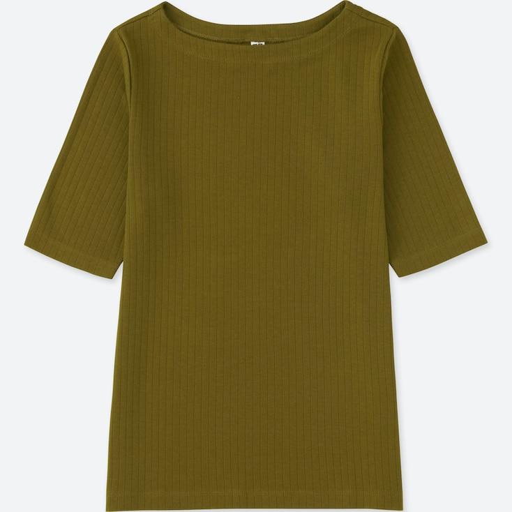 Women Ribbed Boat Neck Half-Sleeve T-Shirt, Olive, Large