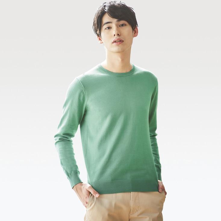 Men Washable Crewneck Long-Sleeve Sweater, Green, Large