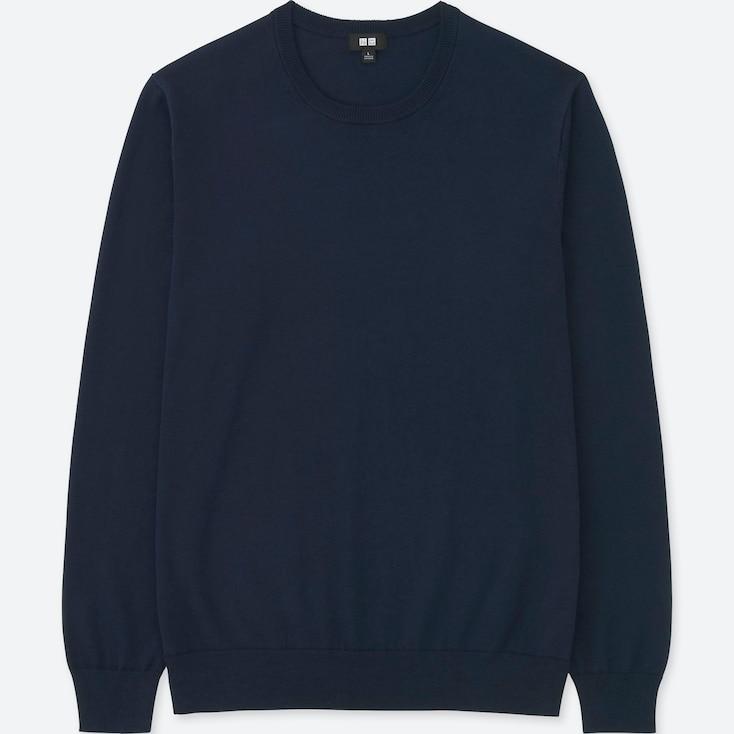 Men Washable Crewneck Long-Sleeve Sweater, Navy, Large