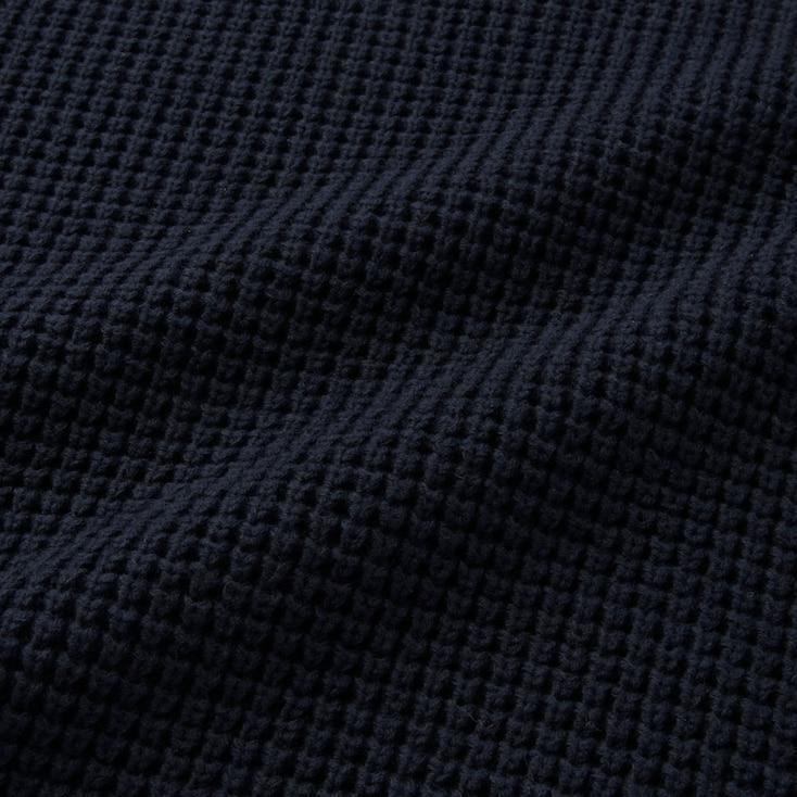 Men Waffle Crewneck Long-Sleeve Sweater, Navy, Large