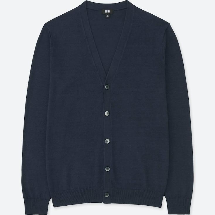 Men Linen Blend V-Neck Long-Sleeve Cardigan, Navy, Large