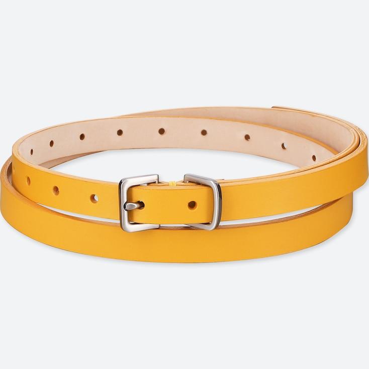 Women Color Skinny Long Belt, Yellow, Large
