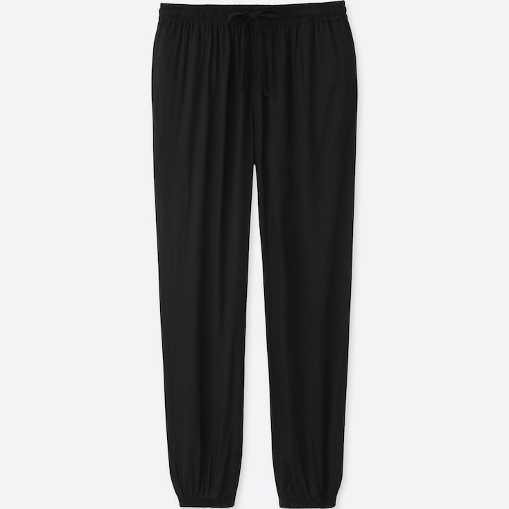 WOMEN DRAPE PANTS, BLACK, large