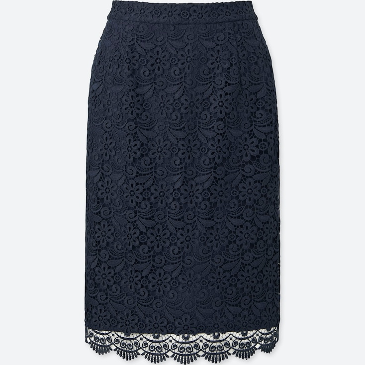 Women Lace Skirt, Navy, Large