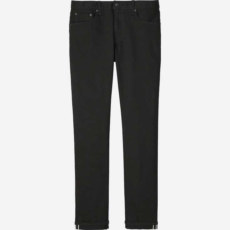 MEN STRETCH SELVEDGE SLIM-FIT JEANS, BLACK, large
