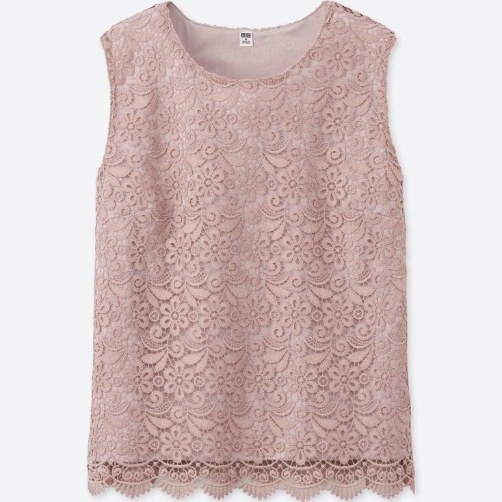 Women Lace Sleeveless T-Shirt, Pink, Large