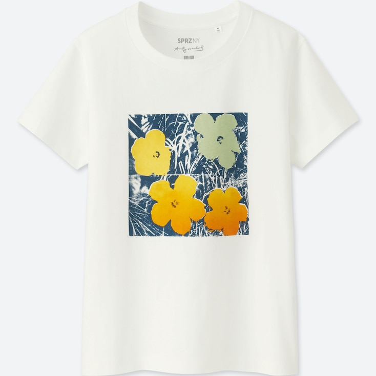 Women Sprz Ny Short-Sleeve Graphic T-Shirt (Andy Warhol), White, Large