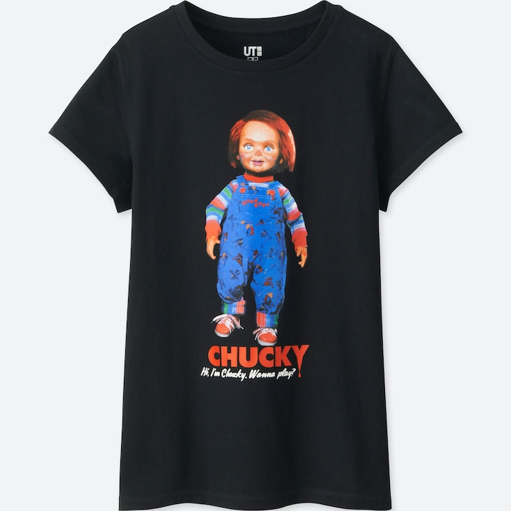 WOMEN Back to the 80's SHORT-SLEEVE GRAPHIC T-SHIRT (CHUCKY), BLACK, large