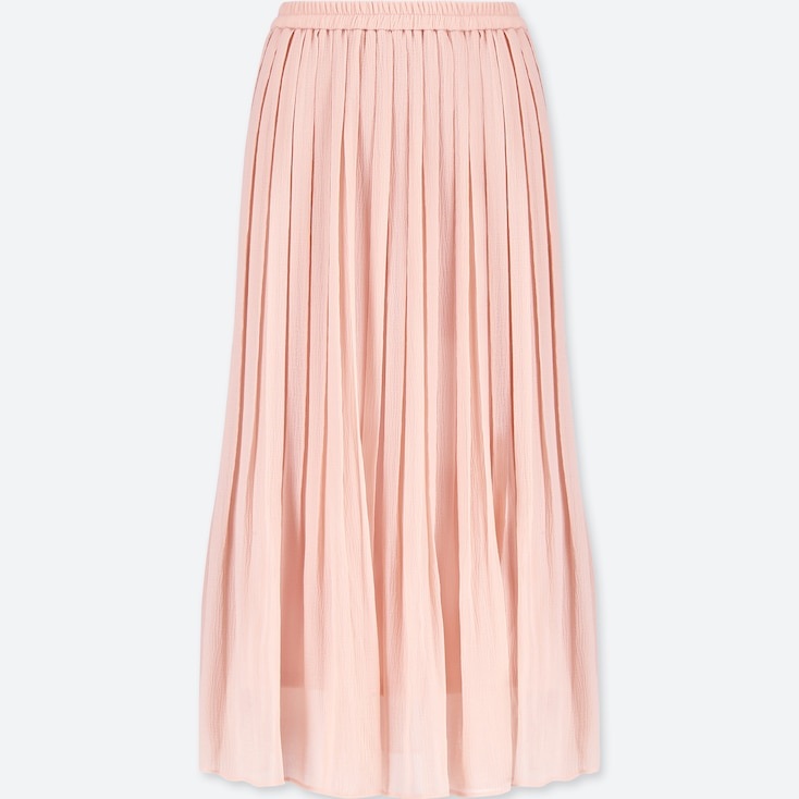 WOMEN HIGH-WAIST CHIFFON PLEATED SKIRT, PINK, large
