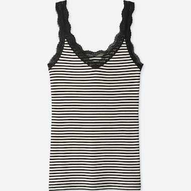 WOMEN 2 WAY STRIPE RIBBED LACE TANK TOP