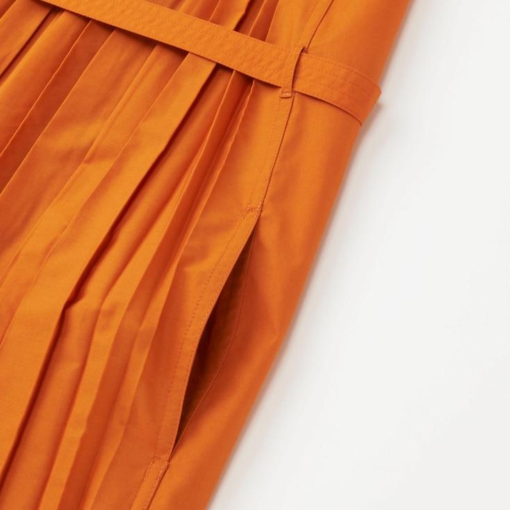 Women U Pleated Sleeveless Shirt Dress, Yellow, Large