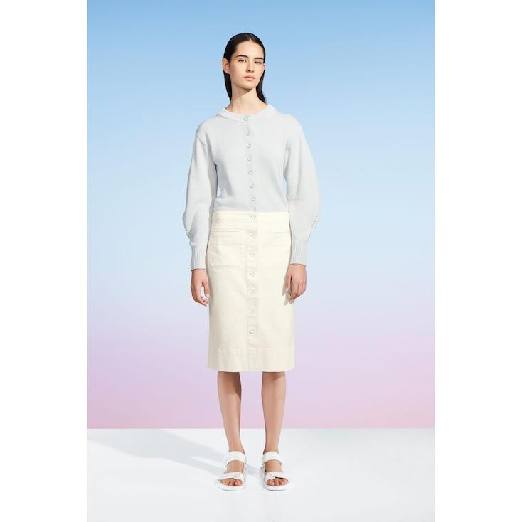 Women U Denim Midi Skirt, Off White, Large