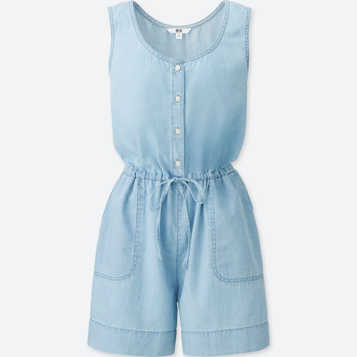WOMEN DENIM SLEEVELESS ROMPER, BLUE, large