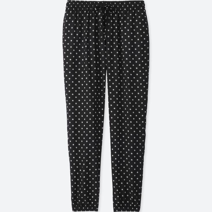 WOMEN DRAPE DOT-PRINT PANTS, BLACK, large