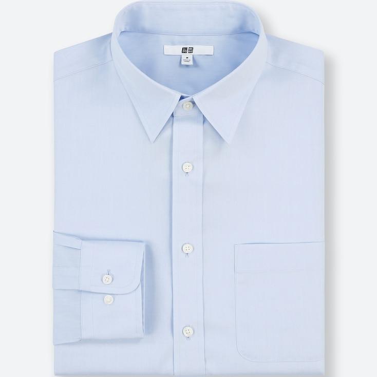 Men Easy Care Regular-Fit Long-Sleeve Shirt (M), Blue, Large