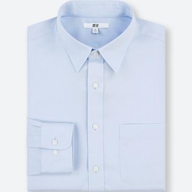 Men Easy Care Regular-Fit Long-Sleeve Shirt (L), Blue, Medium