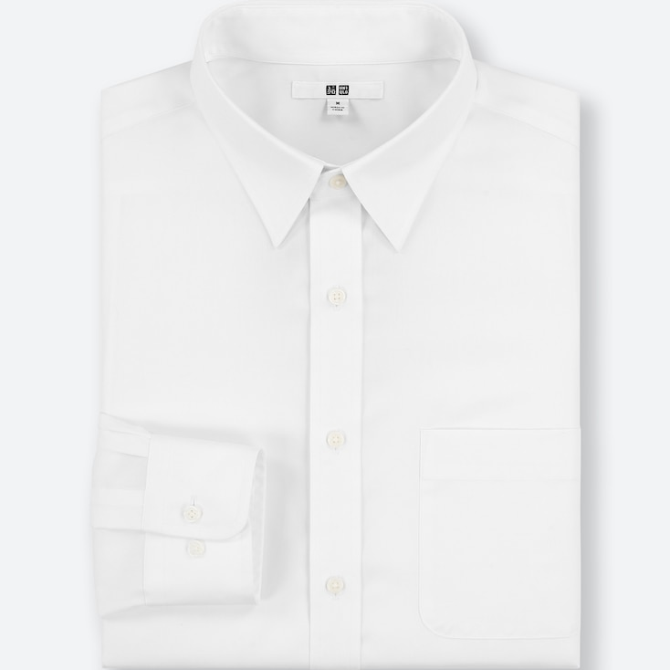 MEN EASY CARE REGULAR-FIT LONG-SLEEVE SHIRT (3XL BODY SIZE), WHITE, large