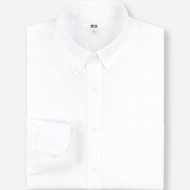 Men Easy Care Regular-Fit Long-Sleeve Shirt (L), White, Medium