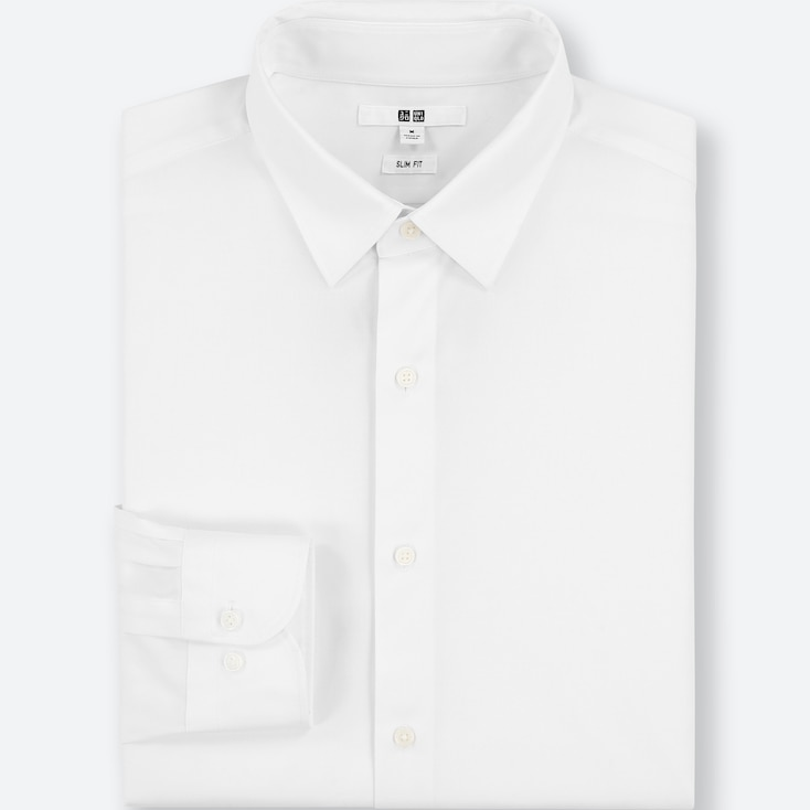 Men Easy Care Stretch Slim-fit Long-sleeve Shirt (s), White, Large