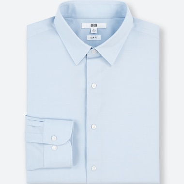 Men Easy Care Stretch Slim-Fit Long-Sleeve Shirt (M), Light Blue, Medium
