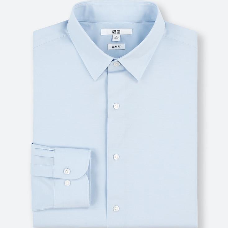 Men Easy Care Stretch Slim-Fit Long-Sleeve Shirt (L), Light Blue, Large