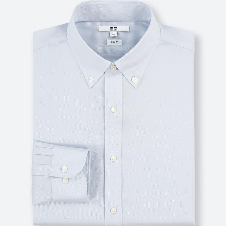 Men Easy Care Stretch Slim-Fit Long-Sleeve Shirt (Xs), Light Blue, Large