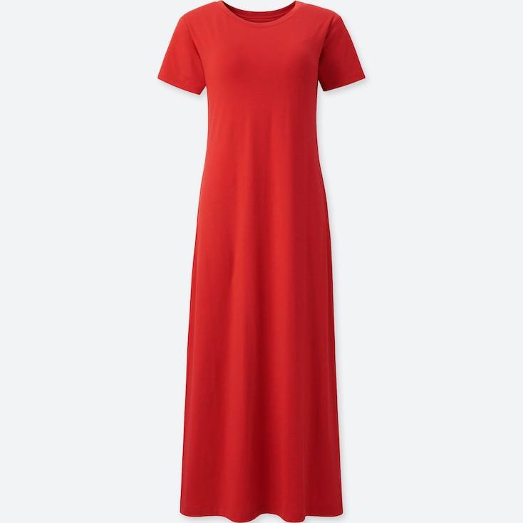 WOMEN SHORT-SLEEVE LONG BRA DRESS, RED, large
