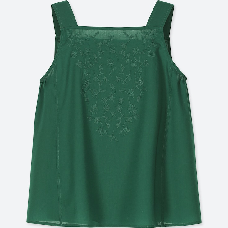 WOMEN COTTON EMBROIDERED TANK BLOUSE, GREEN, large
