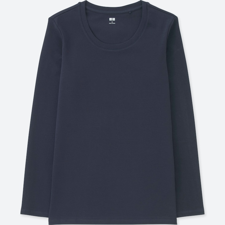 Women Compact Cotton Crew Neck Long-Sleeve T-Shirt, Navy, Large