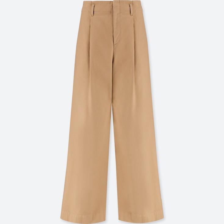 WOMEN HIGH-WAIST CHINO WIDE LEG PANTS, BEIGE, large