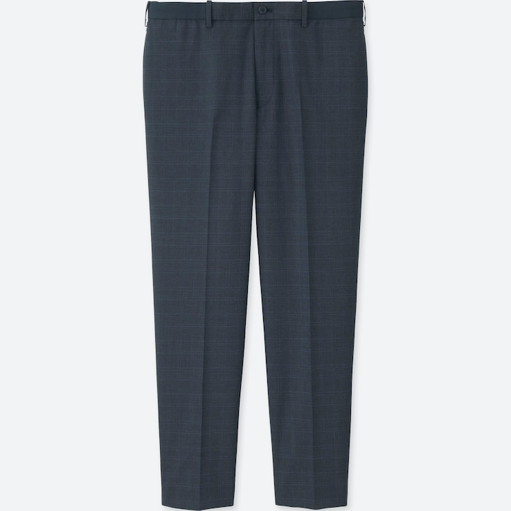 MEN RELAXED ANKLE-LENGTH PANTS (WOOL-LIKE), BLUE, large