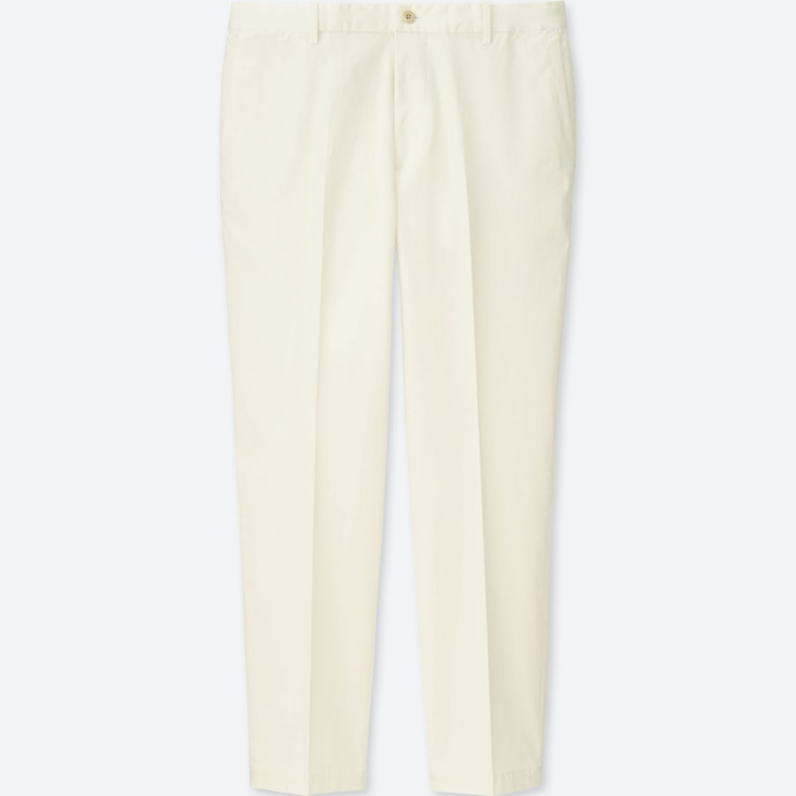 MEN RELAXED ANKLE-LENGTH PANTS (COTTON), WHITE, large