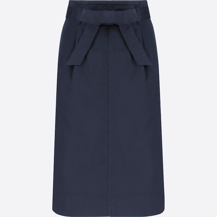WOMEN HIGH-WAIST BELTED NARROW SKIRT, NAVY, large