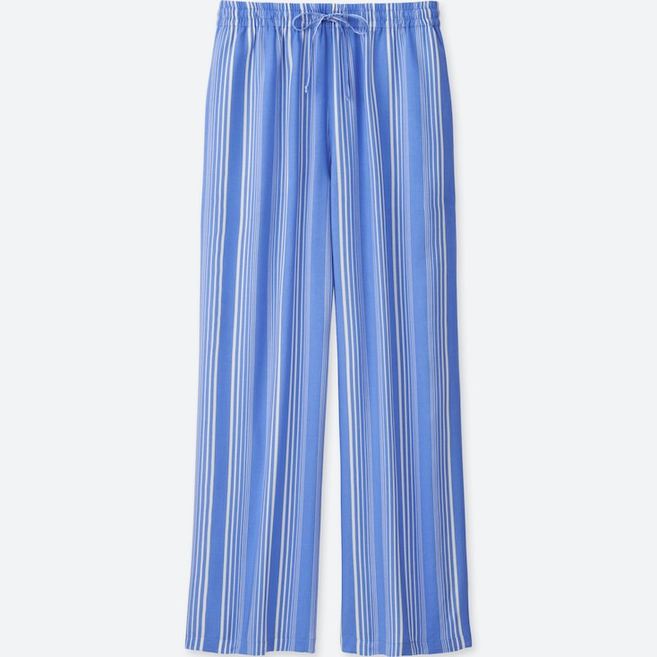 Women Drape Wide Pants, Blue, Large