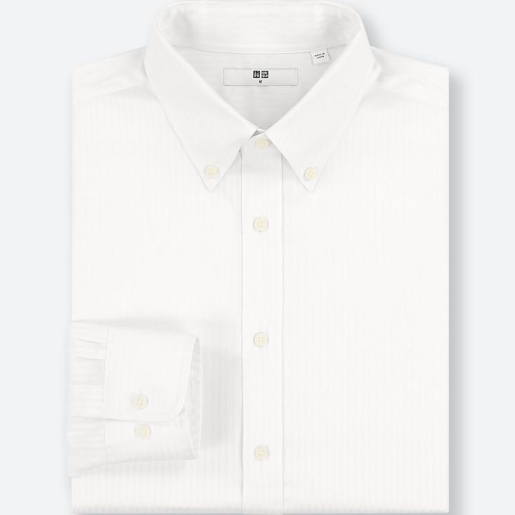 MEN EASY CARE DOBBY REGULAR-FIT LONG-SLEEVE SHIRT, WHITE, large