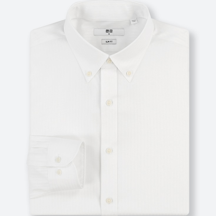 MEN EASY CARE DOBBY STRETCH SLIM-FIT LONG-SLEEVE SHIRT, WHITE, large