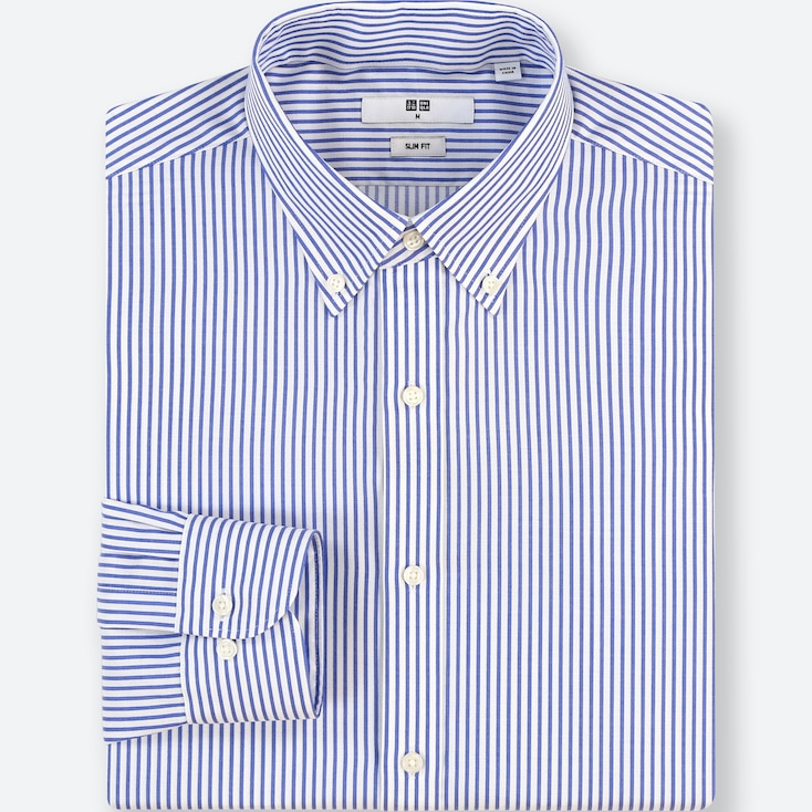 MEN EASY CARE STRIPED STRETCH SLIM-FIT LONG-SLEEVE SHIRT, BLUE, large