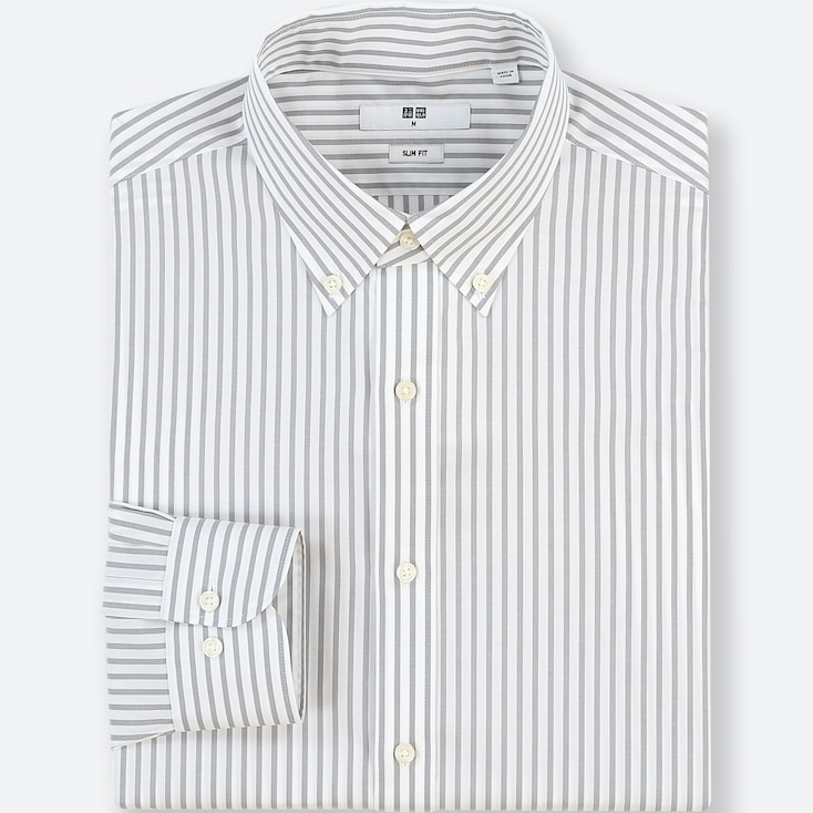 Men Easy Care Striped Stretch Slim-Fit Long-Sleeve Shirt, Gray, Large