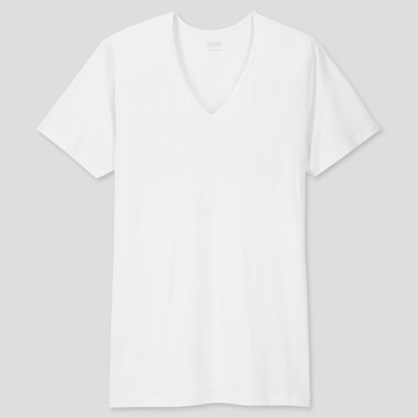 MEN HEATTECH V-NECK SHORT-SLEEVE T-SHIRT, WHITE, medium