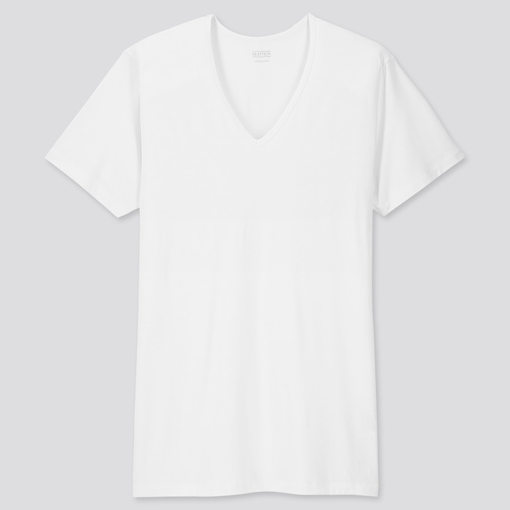 MEN HEATTECH V-NECK SHORT-SLEEVE T-SHIRT, WHITE, large
