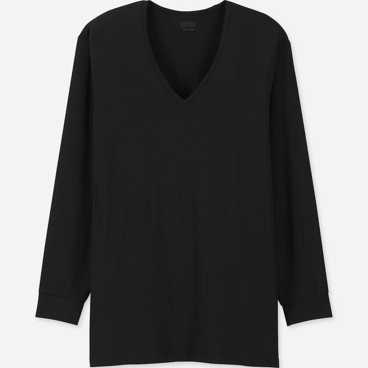 Men Heattech V-Neck Long-Sleeve T-Shirt, Black, Large
