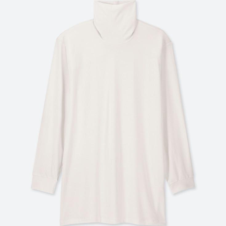 Men Heattech Turtleneck Long-sleeve T-shirt, White, Large