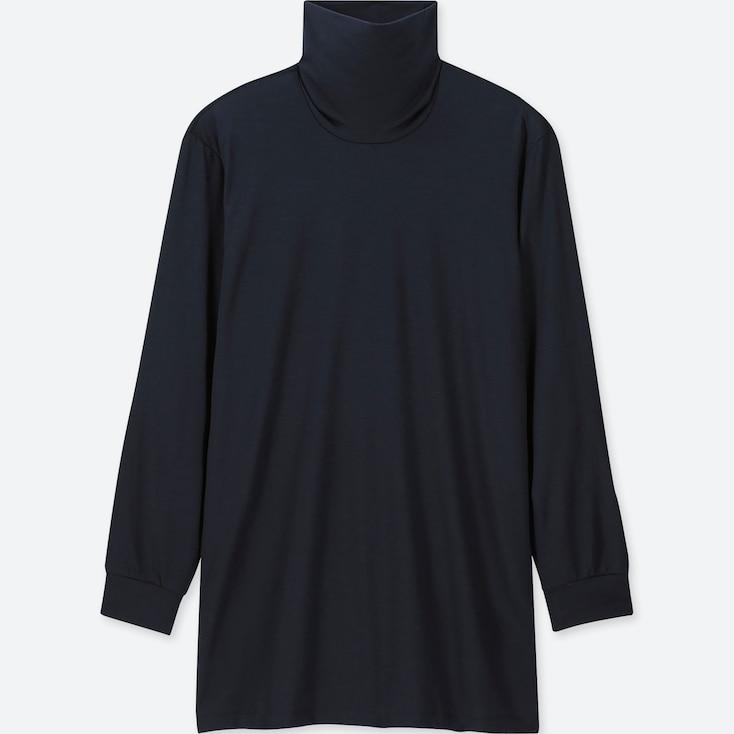 Men Heattech Turtleneck Long-sleeve T-shirt, Navy, Large