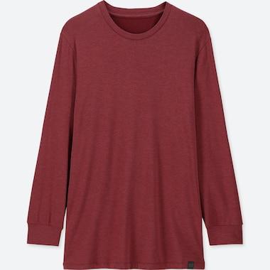 MEN HEATTECH EXTRA WARM CREW NECK LONG-SLEEVE T-SHIRT, RED, medium