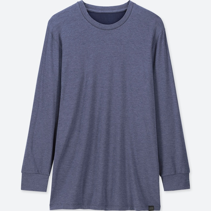 MEN HEATTECH EXTRA WARM CREW NECK LONG-SLEEVE T-SHIRT, BLUE, large