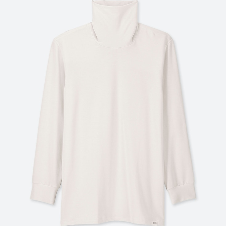 Men Heattech Extra Warm Turtleneck Long-Sleeve T-Shirt, White, Large