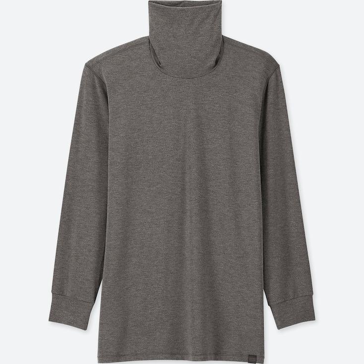 Men Heattech Extra Warm Turtleneck Long-Sleeve T-Shirt, Dark Gray, Large